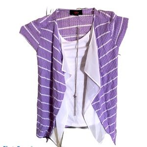 New Georgeous Purple Blouse & Necklace, size 10-12